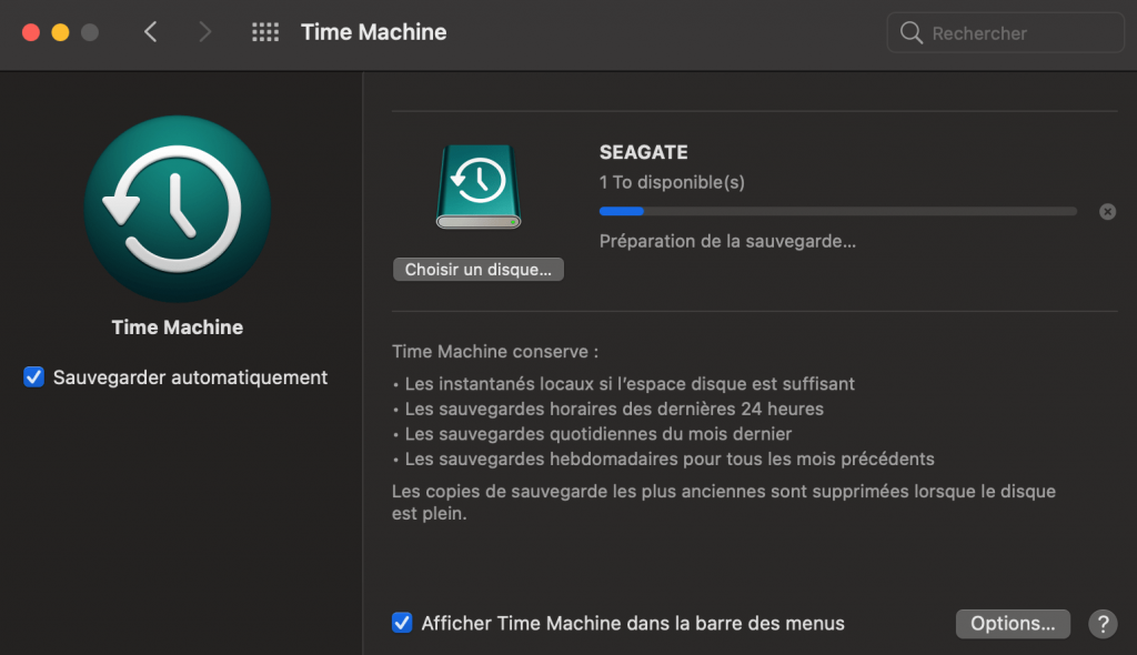 time machine exclusion de fichiers